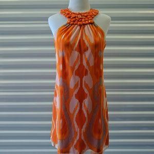Vintage 70's Orange Mini Sleeveless Dress
